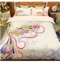 Luxury Butterfly Print 4-Piece Cotton Duvet Cover Sets