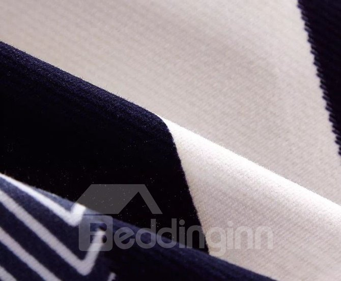 Neutral Style Stripe Print 4-Piece Cotton Duvet Cover Sets