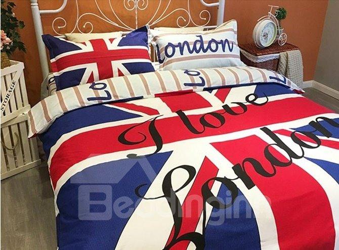 Excellent Union Jack and Letter Print 4-Piece Cotton Duvet Cover Sets