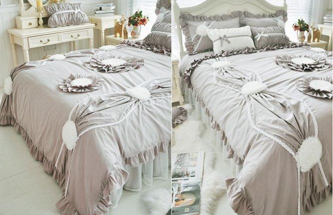 Exquisite Applique 4-Piece Cotton Grey Duvet Cover Sets