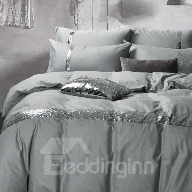 Noble Grey 4-Piece Cotton Duvet Cover Sets