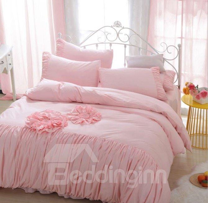 Fancy Solid Color Applique 4-Piece Cotton Duvet Cover Sets