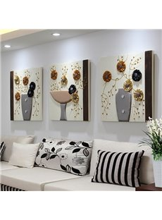 Modern Simple Flower Pattern 3-Panel Home Decorative Wall Art Prints