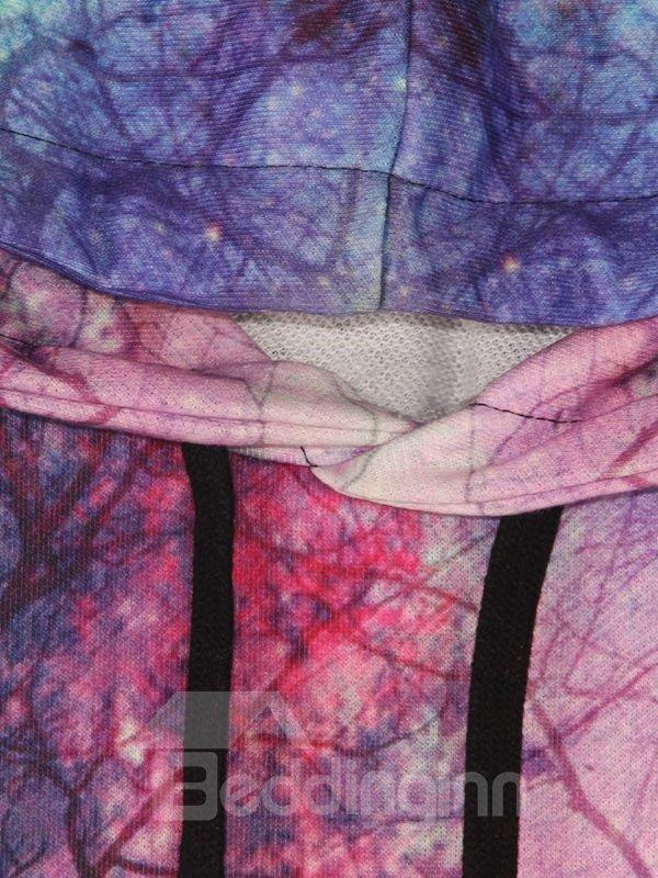 Fabulous Long Sleeve Landscape Pattern Pocket 3D Painted Hoodie