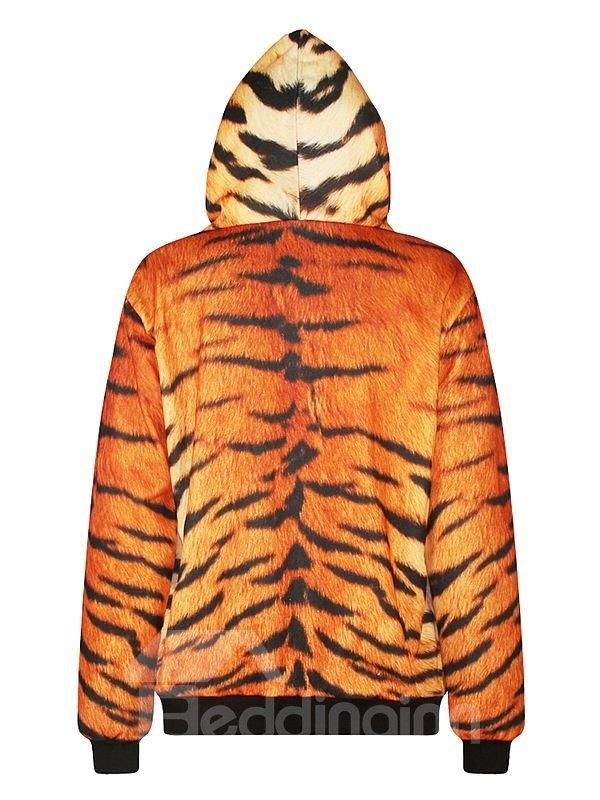 Cool Long Sleeve Tiger Pattern Pocket 3D Painted Hoodie