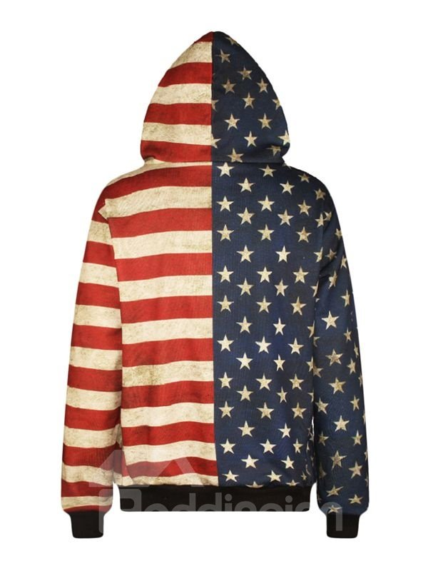 Long Sleeve American Flag Style Pattern Pocket 3D Painted Hoodie