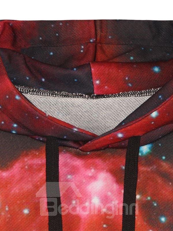 Long Sleeve Starry Sky Pattern Pocket 3D Painted Hoodie