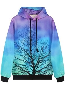 Long Sleeve Tree Pattern Multicolor Background Pocket 3D Painted Hoodie