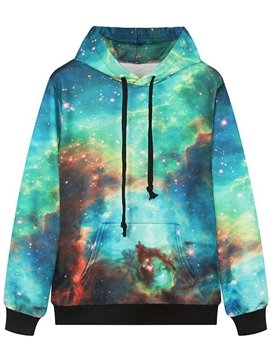Beautiful Long Sleeve Starry Sky Pattern Pocket 3D Painted Hoodie