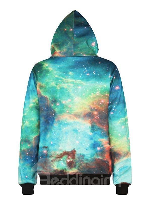 Beautiful Long Sleeve Starry Sky Pattern Pocket 3D Painted Hoodie