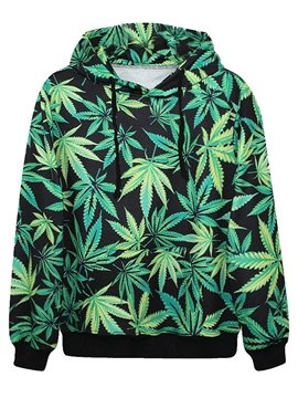 Long Sleeve Leaves Pattern Pocket 3D Painted Hoodie