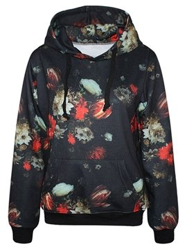 Fantastic Long Sleeve Floral Pattern Pocket 3D Painted Hoodie