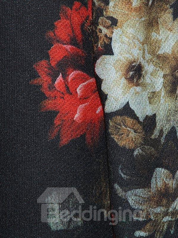 Fantastic Long Sleeve Floral Pattern Pocket 3D Painted Hoodie