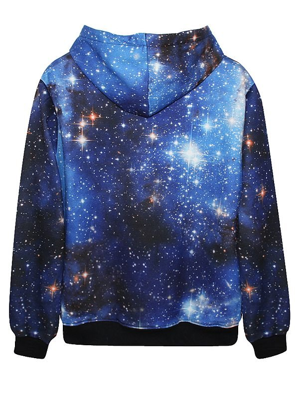 Fabulous Long Sleeve Blue Galaxy Pattern Pocket 3D Painted Hoodie
