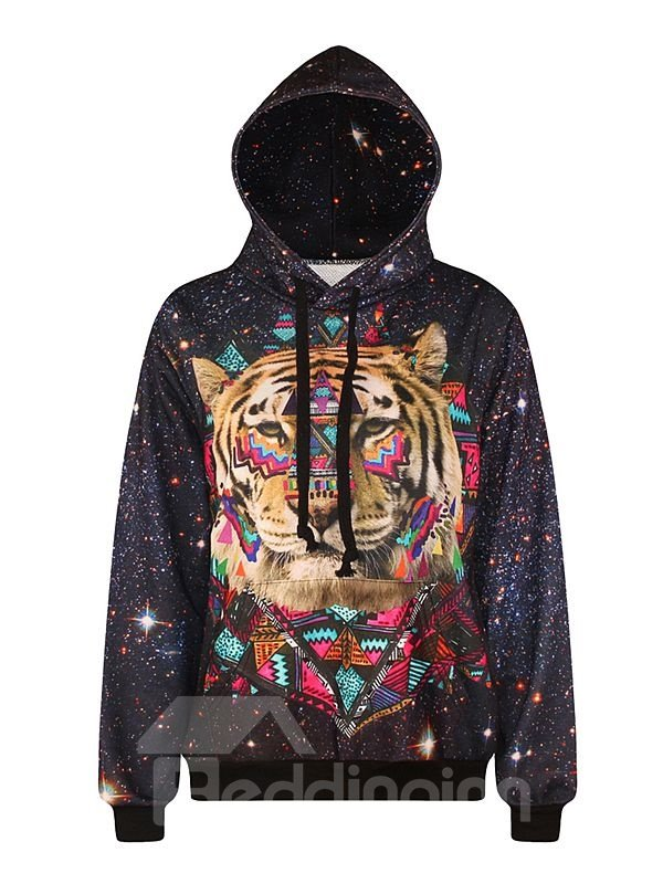 Fashion Long Sleeve Tiger Face Pattern Pocket 3D Painted Hoodie