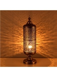Classic Beautiful Iron Frame Cylinder Shape Decorative Table Lamp