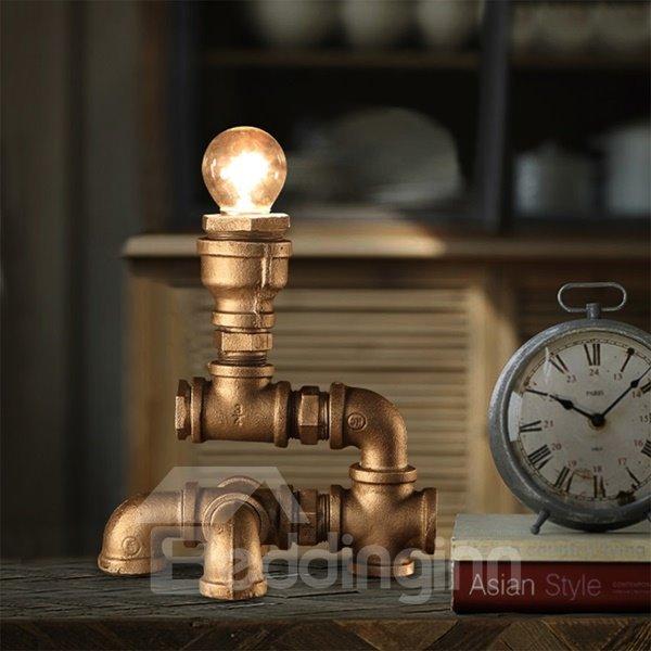 Amusing Creative Design Iron Frame Pipe Shape Decorative Table Lamp