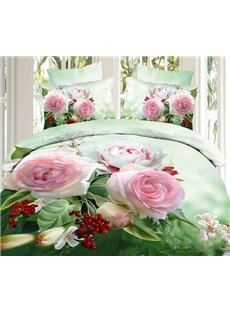 Fresh Green 3D Pink Rose Printed 2-Piece Pillow Cases
