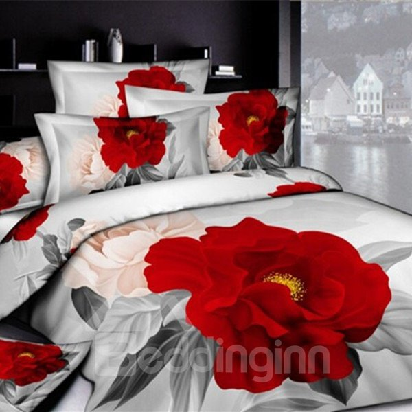 Gorgeous 3D Red Peony Printed Pillow Case