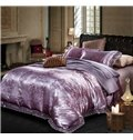 Noble Purple Paisley Pattern Jacquard 4-Piece Duvet Cover Sets