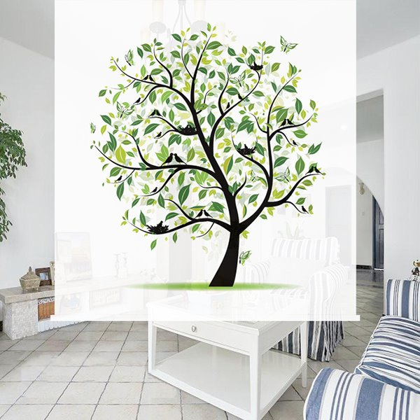 Painted Roller Shades : Concise hand painted tree d printing blackout roller