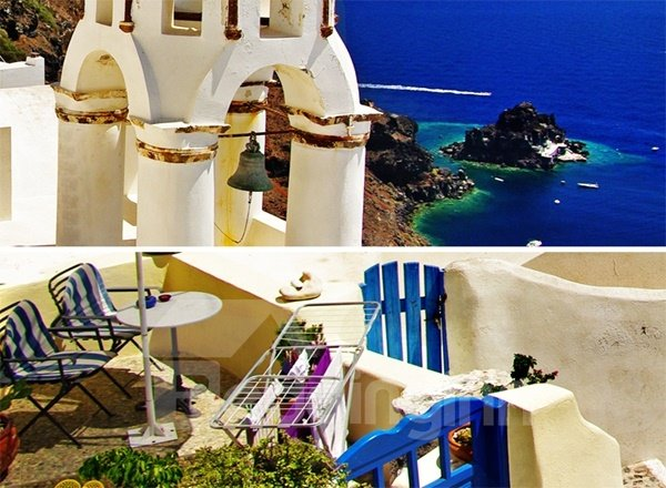 Amazing Beautiful Scenery of Greece 3D Printing Blackout Roller Shades