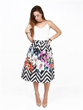 Flower Pattern Stripe Background 3D Painted Midi Skirt