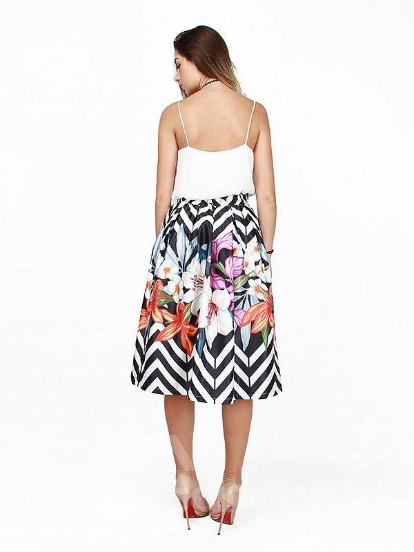 Flower Pattern Stripe Background 3D Painted Midi Skirt