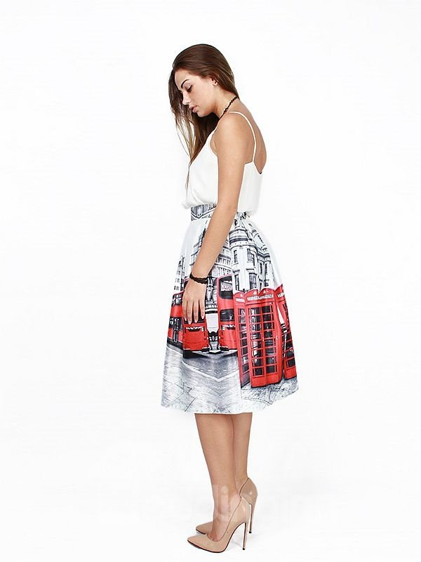 Attractive Red Bus Pattern 3D Painted Midi Skirt