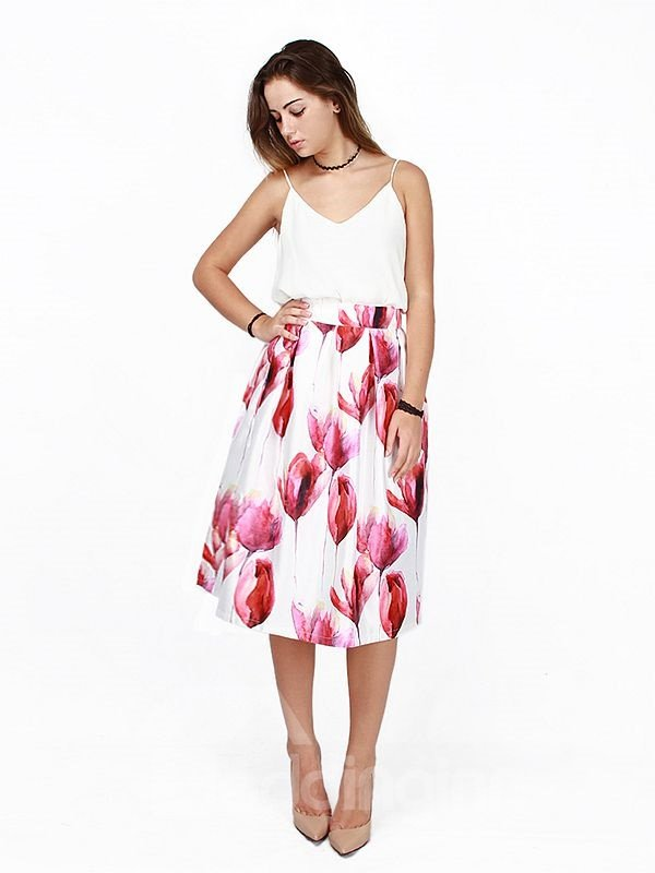 Wonderful Flower Pattern 3D Painted Midi Skirt