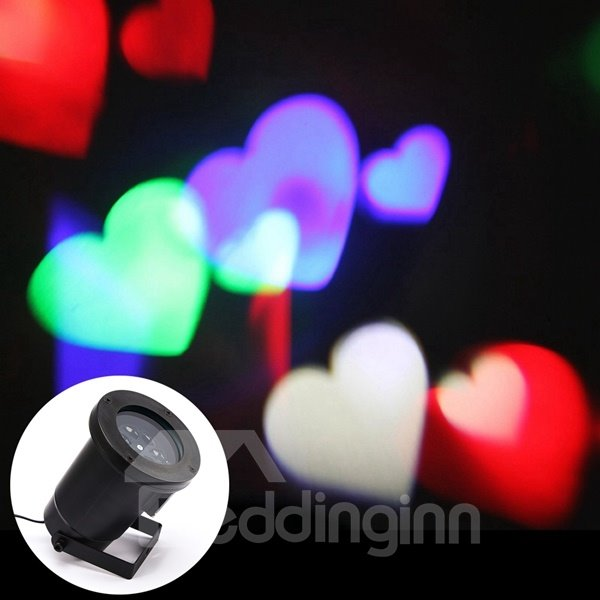 Unique Design Colorful Heart Shape Waterproof Projection LED Light