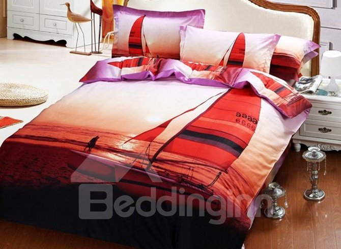 Relaxing Coastal Scenery Cotton 4-Piece Duvet Cover Sets