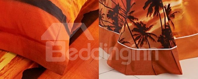 Charming Tropical Scenery Cotton 4-Piece Duvet Cover Sets