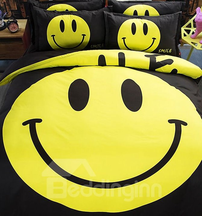 Chic Design Emoji Print Polyester 4-Piece Duvet Cover Sets