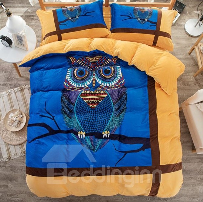 Adorable Owl and Stripe Print Coral Velvet 4-Piece Duvet Cover Sets