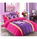 Charming Orchid Print Coral Velvet 4-Piece Duvet Cover Sets