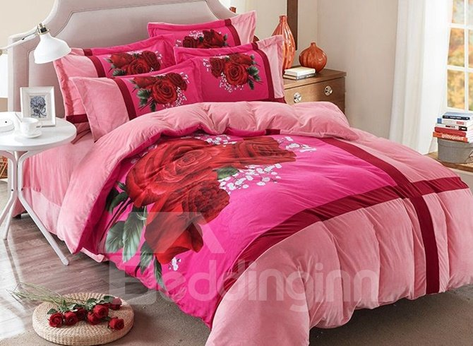 Romantic Red Rose Print Coral Velvet 4-Piece Duvet Cover Sets 12409509