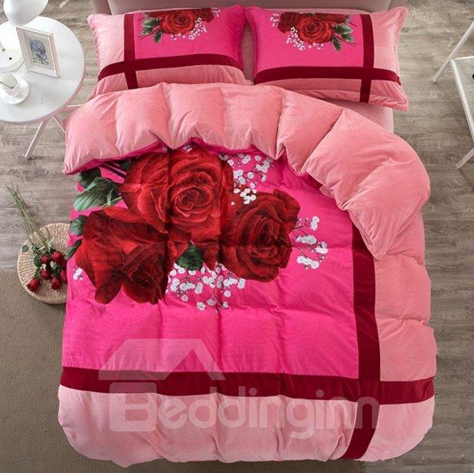 Romantic Red Rose Print Coral Velvet 4-Piece Duvet Cover Sets