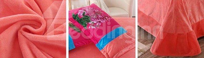 Vivid Hyacinth Print Coral Velvet 4-Piece Duvet Cover Sets