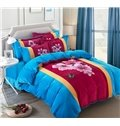 Peach Blossom and Butterfly Print Coral Velvet 4-Piece Duvet Cover Sets
