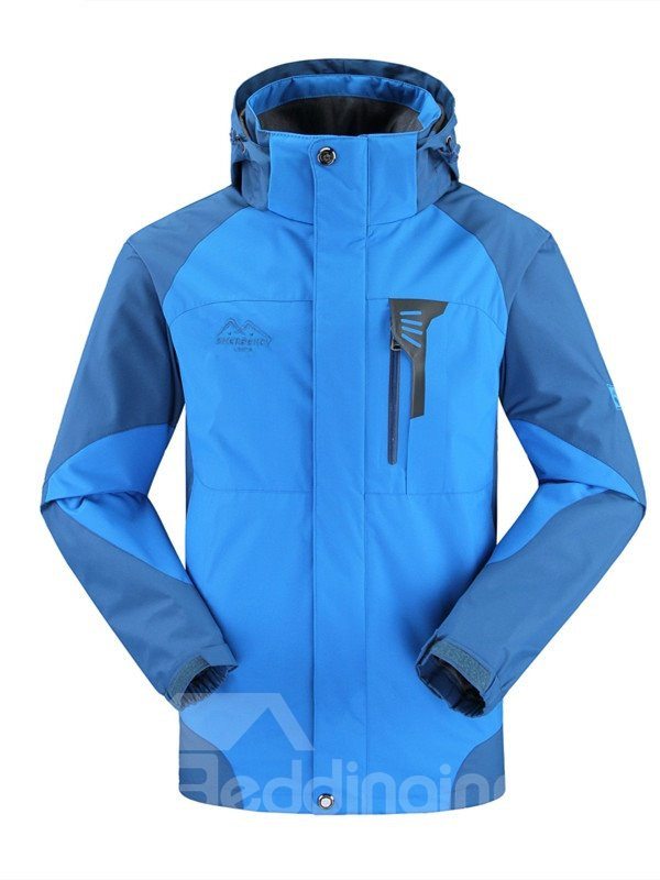 Male Color Block Front Zipper 3 in 1 Fleece Lining Warm Jacket