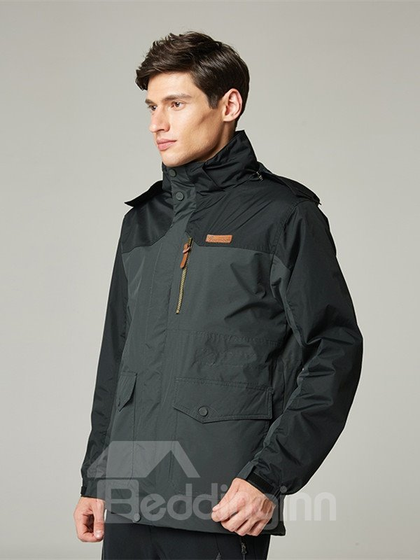Male Outdoor 3 in 1 Windproof and Waterproof Warm Camping and Hiking 2 Piece Jacket