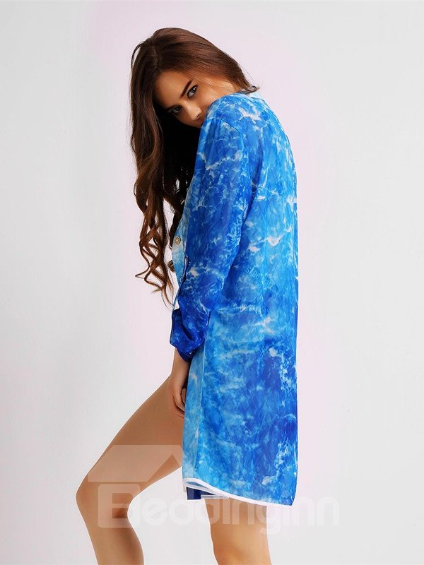 Female Blue Ripple Blouse with Long Sleeve UV-Protection Long Body Beach Cover-up