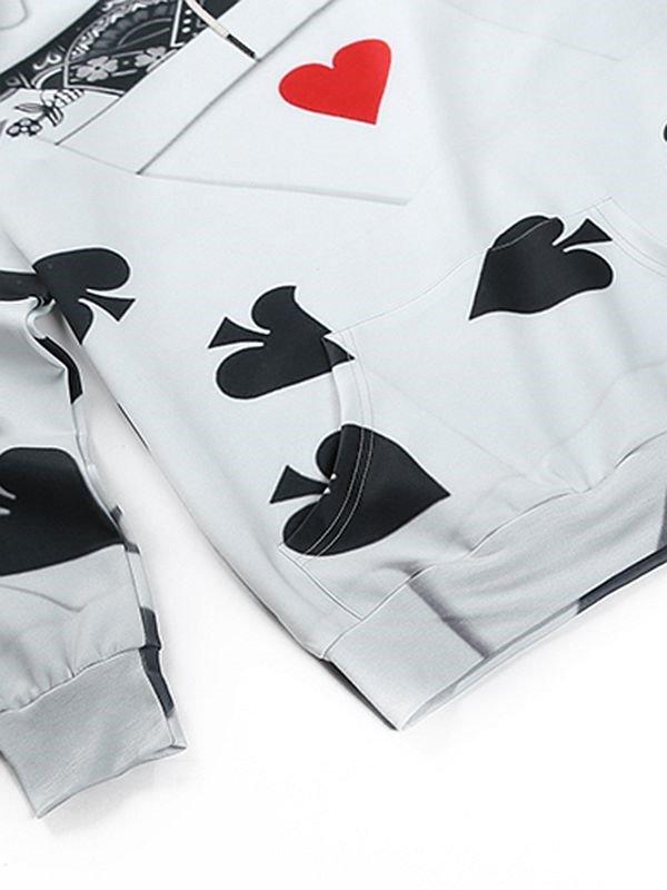 Concise Long Sleeve Poker Pattern Pocket 3D Painted Hoodie