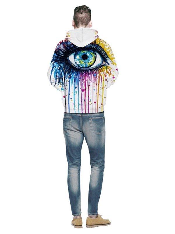Colorful Long Sleeve Big Eyes Pattern Pocket 3D Painted Hoodie
