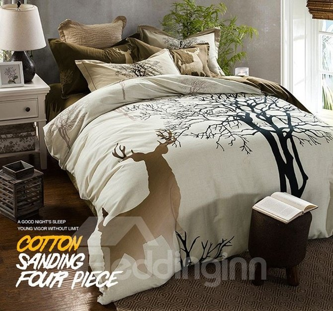 Magical Reindeer and Tree Print 4-Piece Cotton Duvet Cover Sets