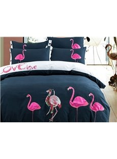 Elegant Pink Flamingo Embroidery 4-Piece Cotton Duvet Cover Sets