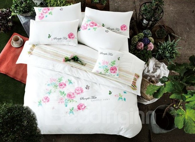 Pastoral Style Peony Embroidery 4-Piece Cotton Duvet Cover Sets