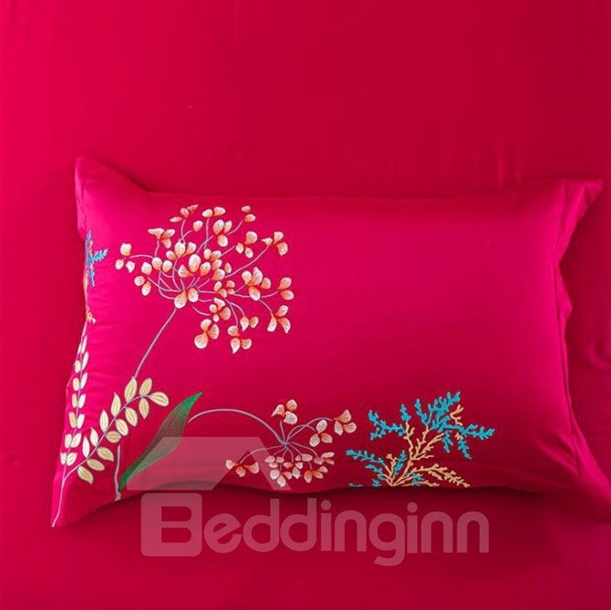Exquisite Butterfly and Flower Embroidery Red 4-Piece Cotton Duvet Cover Sets