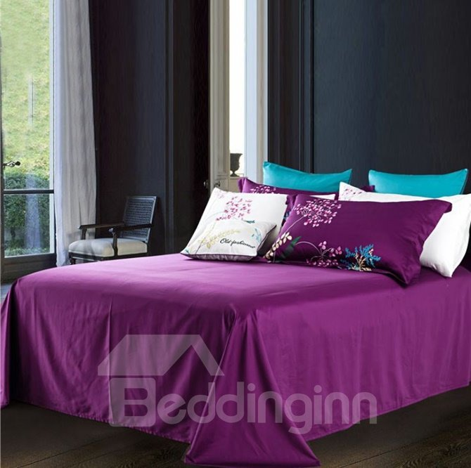Lovely Flower Embroidery Purple 4-Piece Cotton Duvet Cover Sets